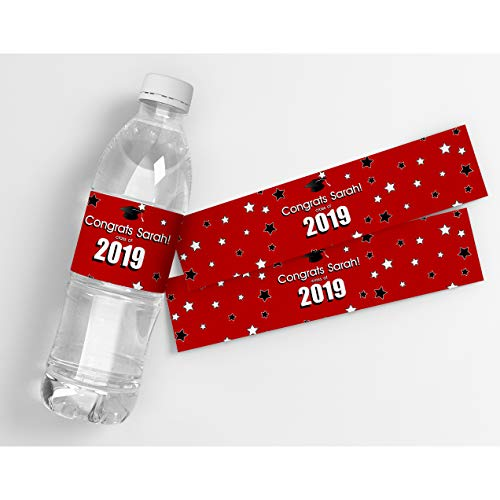Class of 2019 Graduation Red Personalized Waterproof Water Bottle Labels -