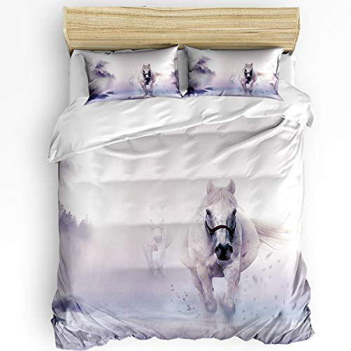 EZON-CH Twin Size 3 Piece Duvet Cover Set Twill Plush Soft Bedding Sets for Boys Girls,Pentium White Horse Comforter Cover Set,Include 1 Comforter Cover and 2 Pillow Shams ()
