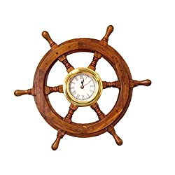 Hampton Nautical  Deluxe Class Wood and Brass Ship Wheel Clock 18 - Decorative Ship Steering Wheel - Nautical Home Decorating