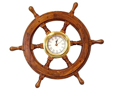 Hampton Nautical  Deluxe Class Wood and Brass Ship Wheel Clock 18