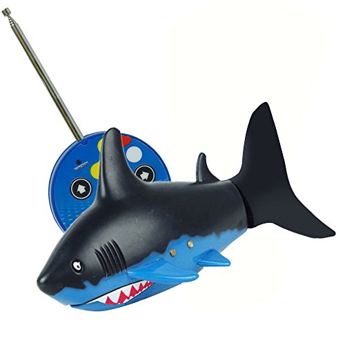 KXN Mini Radio Remote Control 3 Channels Rechargeable Shark RC Fish Electronic Toy for Kids (Black Tail Shark)