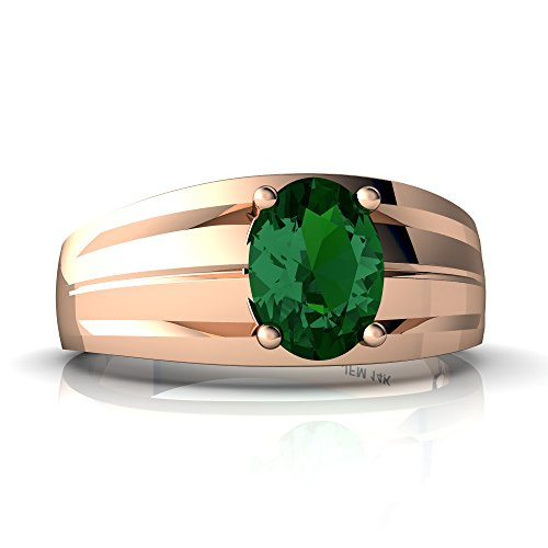 14kt Rose Gold Lab Emerald 8x6mm Oval Men's Ring - Size 7.5 14kt Gold 8x6 Emerald