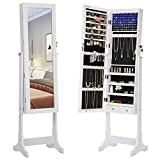 SONGMICS 6 LEDs Jewelry Cabinet Lockable Standing Mirrored Jewelry Armoire Organizer 2 Drawers White UJJC94W