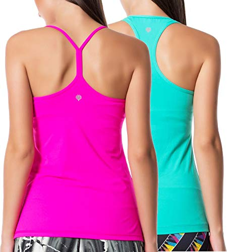 Guely Ray Women Active Workout Yoga Running Tanks Tops Y Racerback Dry Fit 2 Pack Teal & Rosey L Bust 35.5-37