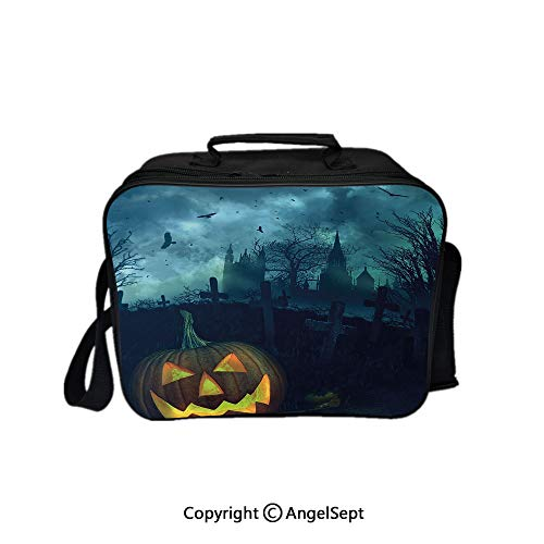 Hot Sale Lunch Container,Halloween Pumpkin in Spooky Graveyard Eerie Gloomy Stormy Atmosphere Petrol Blue Yellow 8.3inch,Lunch Bag Large Cooler Tote Bag For Men, -