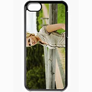 Personalized iPhone 5C Cell phone Case/Cover Skin Alyssa Benolkin Blonde Eyes Blouse Black