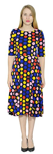 Marycrafts Women's Floral Print Fit Flared Midi Dress 18 Polka Dot (Plus Polka Dot)