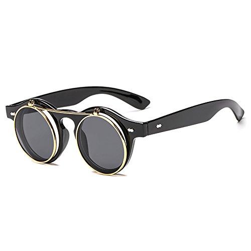 de style de Les soleil hommes Couleur LVZAIXI Noir pour de cercle la Steampunk Générique des lentille femmes métal en de des Noir renversent ronde rétro et lunettes t5Xx8qAw
