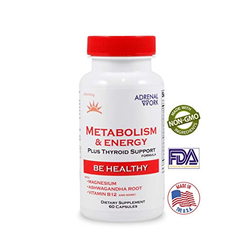 Natural Energy & Metabolism Booster Pills: Metabolism Boosting Formula for weight loss, adrenal support and organic thyroid supplement for Men & Women, with magnesium and ashwagandha - 60 Capsules (Best Pills To Speed Up Your Metabolism)