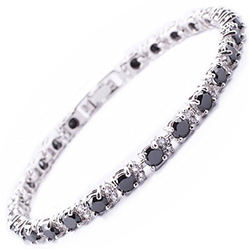 RIZILIA Round Simulated Black Onyx and White Cubic Zirconia 18K White gold Plated Tennis Bracelet, 7