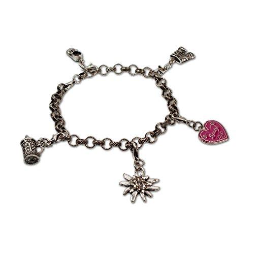 Bavarian Charm Bracelet Oktoberfest (silver coloured) - Traditional German Dirndl, Lederhose Jewelry