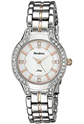 Armitron Women's 75/5291MPTR Swarovski Crystal Accented Silver-Tone and Rose Gold-Tone Bracelet Watch