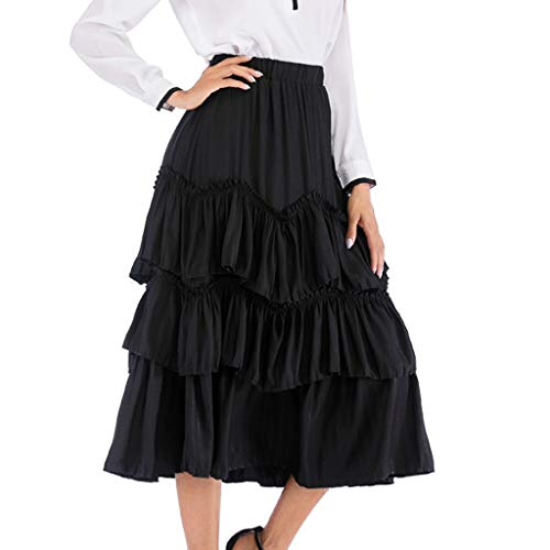 POQOQ Cake Skirt Women Retro High Waist Flared