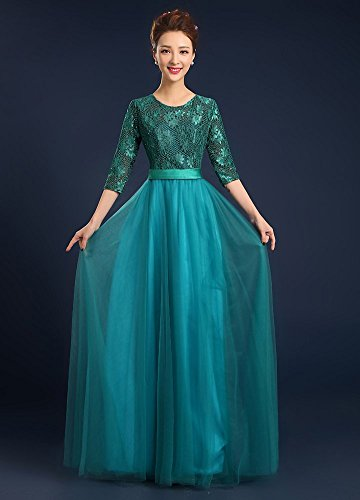 Drasawee 3 Evening Prom Tulle Maxi Dresses Turquoise Gowns Women's Bridesmaid 4 Sleeves afFaBrTWq