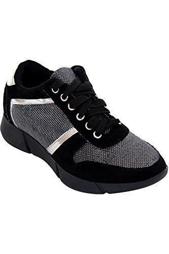 FANTASIA BOUTIQUE ® Ladies Casual Lace Up Shiny Gym Sport Metallic Glitter Sneakers Fashion Trainers Black Suede / Silver UCSRuovNQv