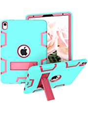 iPad 9.7 2018,iPad 6th/5th Generation Case,Three Layer Shockproof Armor Defender Protective Case Cover for Apple iPad 9.7 2017/2018 A1893 A1954 A1822 A1823, Black and Aqua