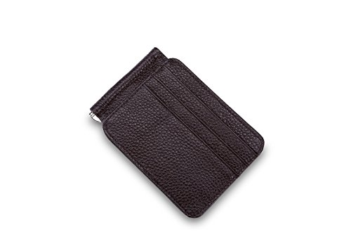 Money Clip bifold slim genuine leather wallets for men minimalist