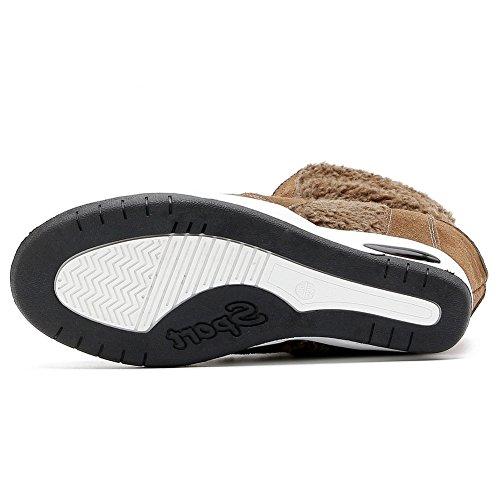 U-mac High-top Wedge Sneakers Voor Dames - Anti-slip Rubberen Zool Verborgen Hak Ronde Neus Plateau Casual Schoenen Bruin