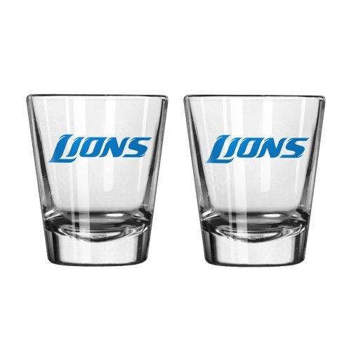 NFL Football Team Logo Satin Etch 2 oz. Shot Glasses   Collectible Shooter Glasses - Set of 2 (Lions) (Lions Shot Glass Set)
