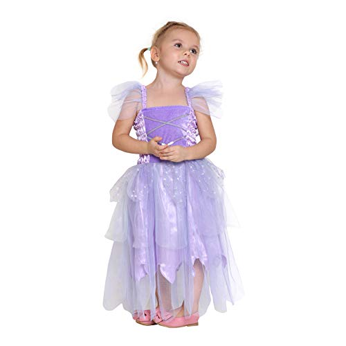 Girls Princess Tinkerbell Costume Long Dress Fairy Wings Birthday Party Halloween (Purple 2-4 Year)