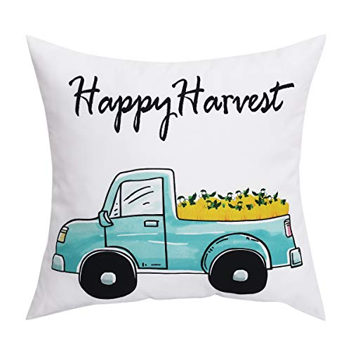 BLEUM CADE Set of 1 Happy Harvest Throw Pillow Cover Pumpkin and Car Couch Cover Pillow Cases for Autumn Halloween Thanksgiving Day