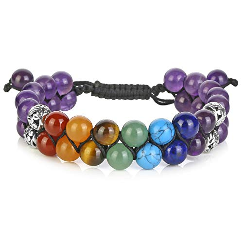 Top Plaza Amethyst Bead Chakra Bracelet 7 Chakras Healing Crystals Bracelet Yoga Stone Beads Bracelets Meditation Relax Anxiety Bangle for Womens Mens