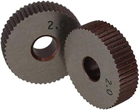 No Logo Rändelfräswerkzeuge 2ST 2.0mm Rad Knurl HSS Wälzfräser Straight Grain Rad Knurled Lathe Prägeradabschnitt Werkzeugmaschinen Zubehör Hebt für Metalldrehmaschine