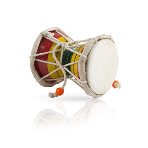 Handmade Wooden & Leather Classical Indian Folk Dumroo Damroo Damaru Hand Drum Set Percussion Decorative Collectible Showpiece World Musical Instruments Fun For Adults Kids Babies Birthday - Hand Indian Drums