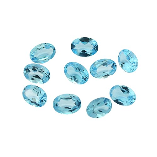 10 pcs Wholesale lot Sparkling Swiss Blue Topaz Faceted Gemstone Oval Shape 6x8mm ,Jewelry Making Loose Gemstone A141