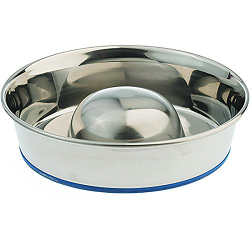 Our Pet`s Durapet Stainless Steel Slow Feed Dish (Durapet Rubber Bowl)