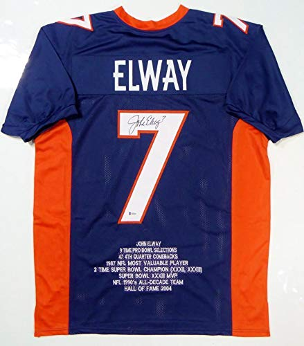 Autographed John Elway Jersey - Blue Pro Style Stat 1 Beckett Witnessed Auth - Beckett - John Jersey Autographed Elway