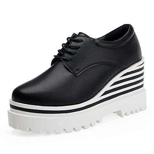 Zapatos de plataforma mujer/zapatos de plataforma en el otoño/Zapatos de aumento de altura/Zapatos de cuñas/Plataforma redonda de zapatos de mujer de UK B