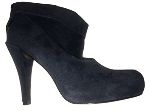 Suede Real Petrol Boots Ankle Loop Rouched Detail Blue wXnIqz