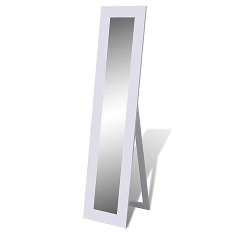 vidaXL Miroir en Pied Blanc Entrée Chambre à Coucher Vestiaire Miroir Psyché