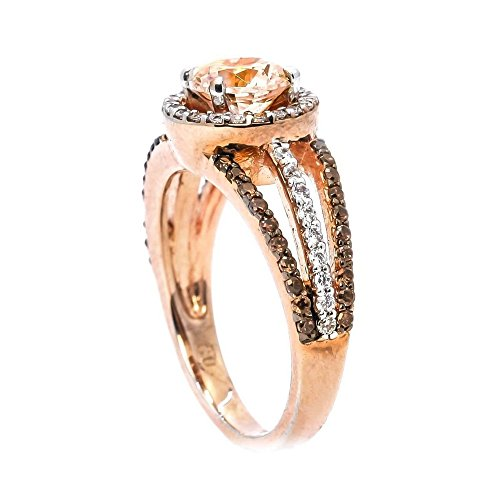 Haluoo Wedding Engagement Ring for Women Rose Gold Plated Champagne Cubic Zirconia Cushion Cut Halo Diamond Promise Rings (10, Rose Gold)