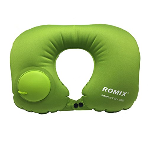 Jieyao Inflatable Travel Pillow for Airplanes U Shaped Pillow with a Inflator, Foldable - Washable - Adjustable - Comfortable.(Green)
