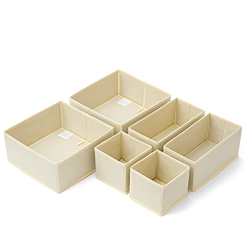 Set of 6 Nursery Drawer Storage EZOWare Folding Closet Dresser Office Organizer Basket bins for Bras, Socks, Underwear, Tie, Scarves, Gloves, Diaper, Toys, Brush, Accessories and more - Beige