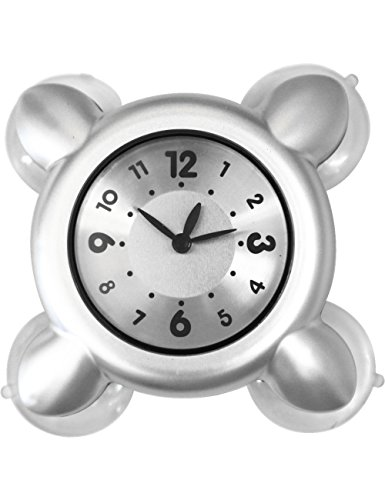 Suction Clock, Higoo(tm) Water Vapor Resistance Mini Clock Strong Suction Cup Wall Clock Glass Tile Wall Window Mirror Bath Shower Clock Watch (Silver)