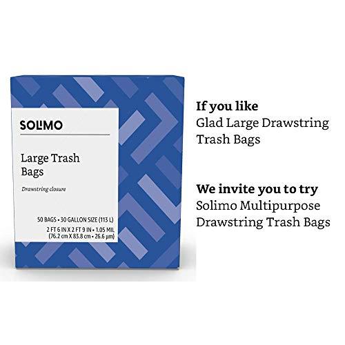 Amazon Brand - Solimo Multipurpose Drawstring Trash Bags, 30 Gallon, 50 Count