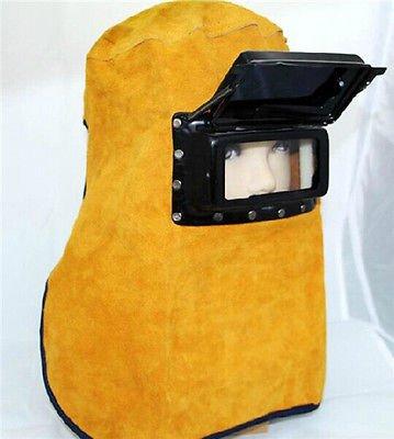 BADASS SHARKS Comfortable Leather Welder Welding Protective Gear Mask Work Cap Hood Helmet (Leather Welding Helmet)