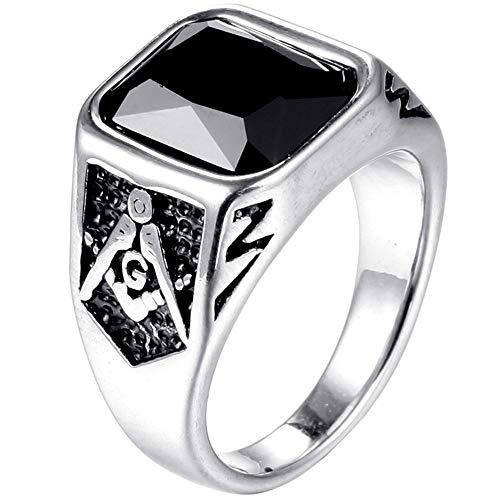 Jude Jewelers Stainless Steel Black Onyx Signet Style Masonic Ring (Silver Black, 11) - Masonic Black Onyx