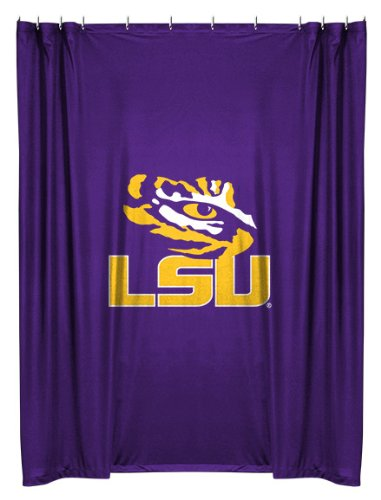 LSU Tigers COMBO Shower Curtain, 2 Pc Towel Set & 1 Window Valance/Drape Set (63 inch Drape Length) - Decorate your Bathroom & SAVE ON BUNDLING! by Sports Coverage