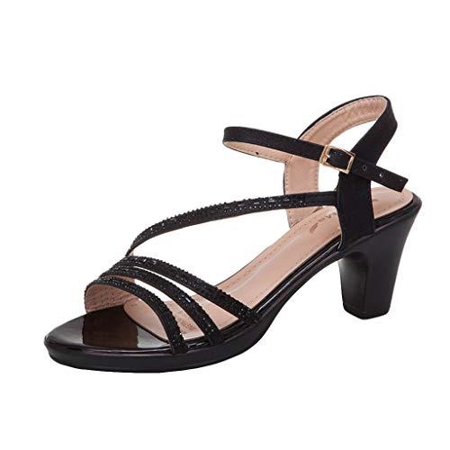 JJLIKER Women's Crystal Slingback Block Heel Ankle Strap Sandals Elegant Ladies Summer Party Dress Shoes