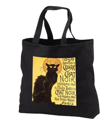 PS Vintage - Vintage French Chat Noir Black Cat Art - Tote Bags - Black Tote Bag 14w x 14h x 3d (tb_99416_1)