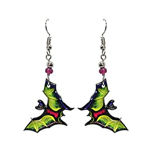 Bat Halloween Themed Graphic Dangle Earrings – Womens Fashion Handmade Jewelry Holiday Accessories