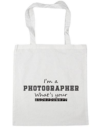 HippoWarehouse I'm a Fotograf What's Your Superpower? Einkaufstasche Fitnessstudio Strandtasche 42cm x38cm, 10 liter - Weiß, One size