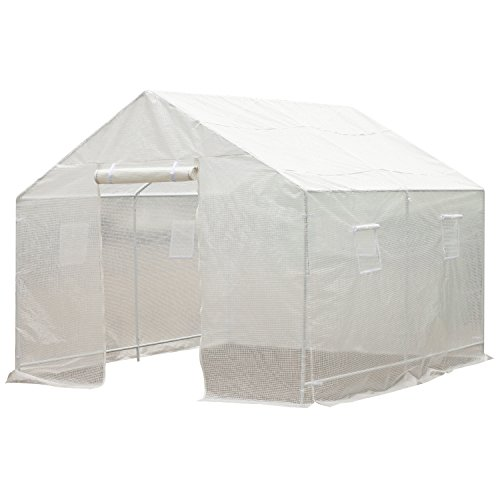 10 X 8 Greenhouse (Outsunny 10' x 9.5' x 8' Outdoor Ventilated Portable Walk-In Greenhouse w/ White PE Cover)
