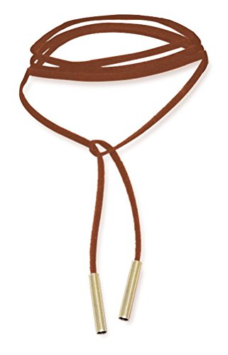 Brown Leather Choker Collar Necklace with Gold Tube - Adjustable Long Collar Leather Necklace by Woowom
