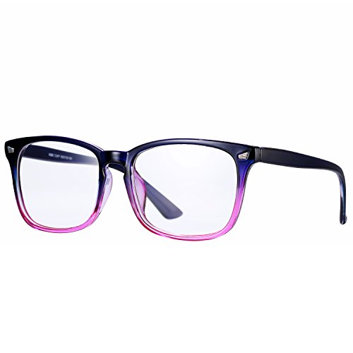 Pro Acme New Wayfarer Non-prescription Glasses Frame Clear Lens Eyeglasses (Purple/Hot - Hot Frames Eyeglass Pink