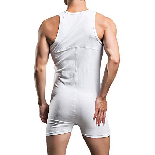 Vest One Mens Pyjamas Sous Shorts Body bouton Jumpsuit Vêtements M xl Débardeurs Piece De Blanc Nuit Bouton Maison Zezkt Sexy Coton 9YEI2WHD